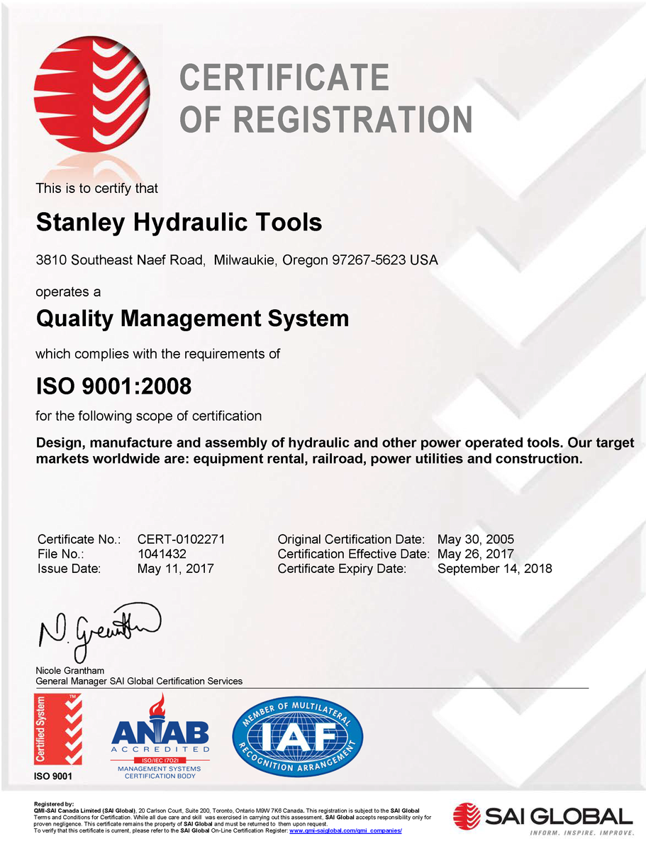 Approval Compliance Certifications Stanley Infrastructure